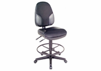 Alvin� Black High Back Drafting Height Monarch Chair with Leather Accents