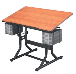 Alvin® CraftMaster™ Art, Drawing, and Hobby Table Black Base with Cherry Woodgrain Top