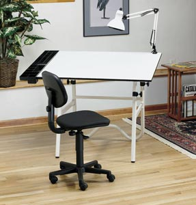 Alvin® CC Series Creative Center White Base with Office Chair and Lamp - Click to enlarge