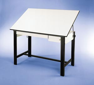 "Alvin® DesignMaster Table, Black Base White Top 2 Drawers 37.5"" x 60"""