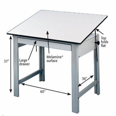 Alvin® DesignMaster Table, Gray Base White Top 37.5