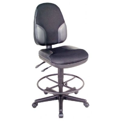 Alvin® Black High Back Drafting Height Monarch Chair with Leather Accents
