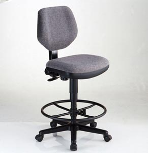 Alvin® Comfort Classic Deluxe Drafting Height Task Chair (Black or Gray) - Click to enlarge