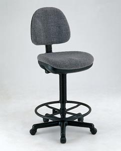 Alvin® Black Leather Premo Drafting Height Ergonomic Chair - Click to enlarge