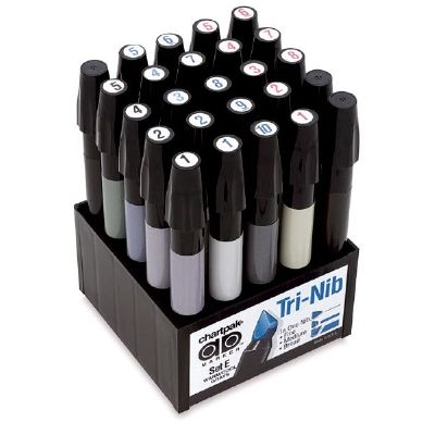 Chartpak® AD™ Marker 25-Color Warm/Cool Gray Set - Click to enlarge