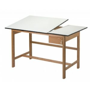 Alvin® Titan II Split Top Solid Oak White Top Drafting Table