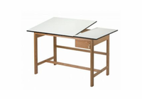 Alvin� Titan II Split Top Solid Oak White Top Drafting Table
