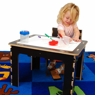 ANATEX Flip Top Dry Erase and Chalk Table with 1 Bench - Natural - Click to enlarge