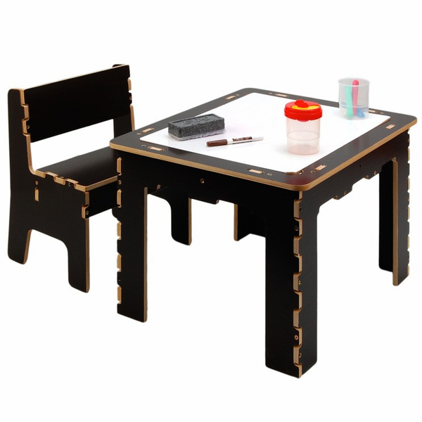 Cool Anatex Flip Top Dry Erase And Chalk Table With 1 Bench Natural Machost Co Dining Chair Design Ideas Machostcouk