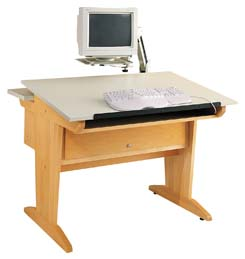 DIVERSIFIED WOODCRAFTS Art/CAD/Graphics Table w/extension arm