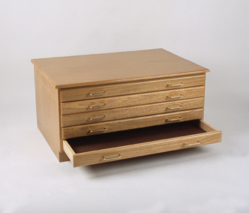 BEST Oak Art Flat File Package - 5 Drawers plus Cap & Base