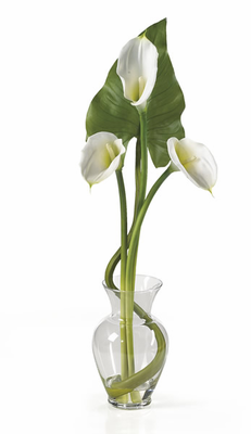 SILK Calla Lilly Liquid Illusion w/Leaves - Click to enlarge