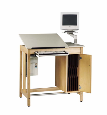 DIVERSIFIED WOODCRAFTS Drawing Table System with Board Storage