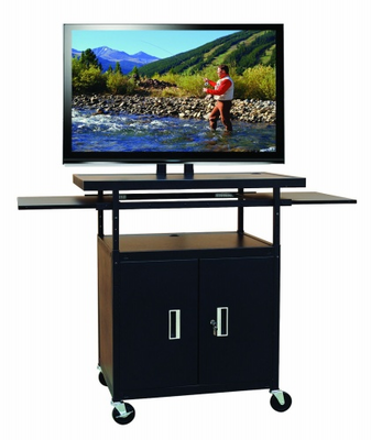 "Flat Panel AV Cart with Locking Cabinet Adjustable 34"" to 54"""