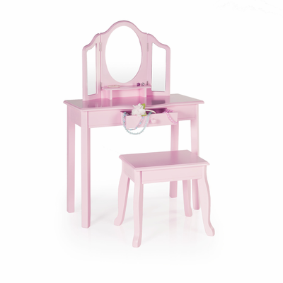 Fine Guidecraft Vanity And Stool Pink Lamtechconsult Wood Chair Design Ideas Lamtechconsultcom