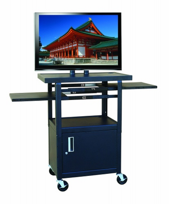Hamilton Electronics Wide Body Flat Panel TV Cart with Locking Cabinet