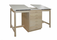 HANN Dual Station Drawing Table, Large 6-Drawer Storage Cabinet