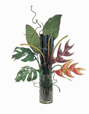 Heliconia Lobster Claw w/Bamboo Arrangement Liquid Illusion