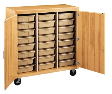 Diversified Woodcrafts Mobile Tote Tray Storage Cabinet 24 Trays Locking Doors