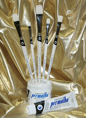 Permalba® Oil Brush White Bristle PERFECT BRIGHT™ Set of (5)