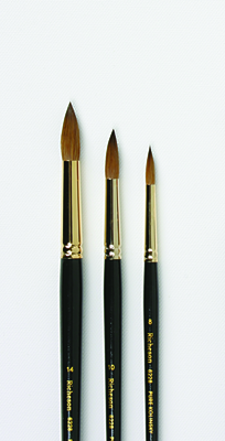 SET OF 3 RICHESON SABLE  BRUSHES IN WOODEN BOX - Click to enlarge