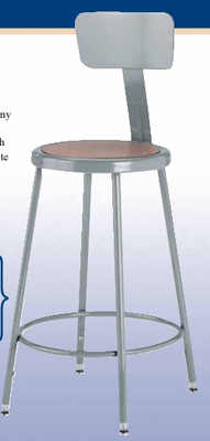 "Steel Stool w/ Backrest – 24"" High"