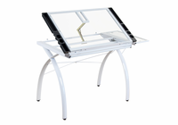 STUDIO DESIGNS 10096 Futura Craft Station with Folding Shelf, White with Clear Glass