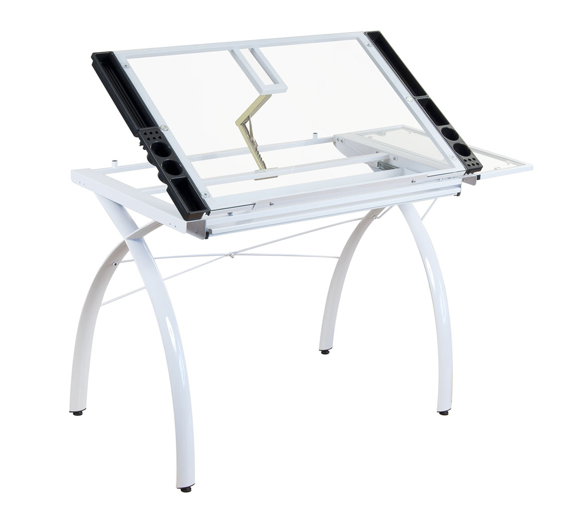 STUDIO DESIGNS 10096 Futura Craft Station With Folding Shelf, White With  Clear Glass. Loading Zoom