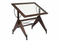 STUDIO DESIGNS Aries Glass Top Drafting Table Dark Walnut / Champagne