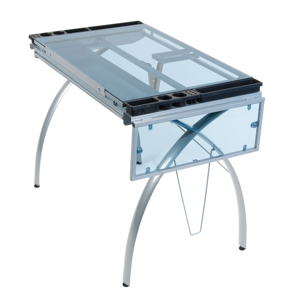 STUDIO DESIGNS Futura Craft Station With Folding Shelf / Silver / Blue Glass.  Loading Zoom