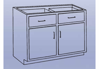 Wood High Base - 2 drawers/double doors