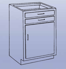 Wood High Base - 2 drawers/single door