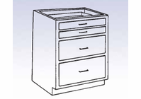 Wood Low Base - 2 large/2 small drawers-10