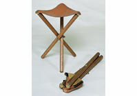 RICHESON Wood Stool Leather Seat