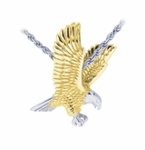 3D Eagle Sterling Silver with Gold Cremation Jewelry Pendant Necklace