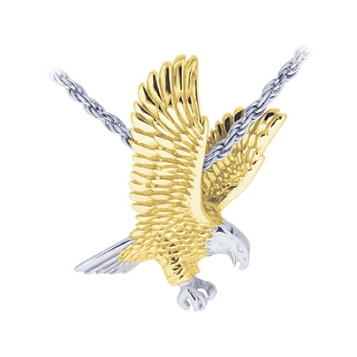 3D Eagle Sterling with Gold Cremation Jewelry Pendant Necklace