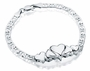 5 Heart Charm Oval Link Sterling Silver Cremation Jewelry Bracelet