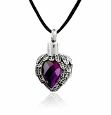 Amethyst Angel Wing Heart Stainless Steel Cremation Jewelry Pendant Necklace