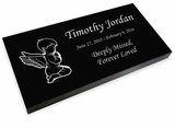 Angel Boy Grave Marker Black Granite Laser-Engraved Infant-Child Memorial Headstone