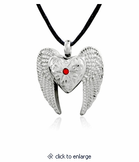 Angel winged heart stainless cremation jewelry pendant necklace angel winged heart stainless steel cremation jewelry pendant necklace aloadofball Gallery