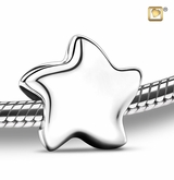 Angelic Star Rhodium Plated Sterling Silver Cremation Jewelry Bead