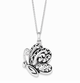Antiqued Butterfly Sterling Silver Memorial Jewelry Necklace