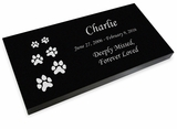 Ascending Dog Prints Pet Grave Marker Black Granite Laser-Engraved Memorial Headstone