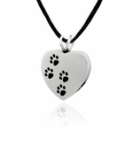 Ascending Paw Prints Stainless Steel Pet Cremation Jewelry Pendant Necklace