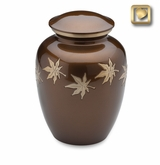 Autumn Leaves Brass Cremation Urn