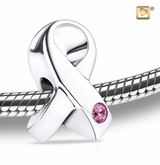 Awareness Rhodium Plated Sterling Silver Cremation Jewelry Bead