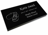 Baby Booties Grave Marker Black Granite Laser-Engraved Infant-Child Memorial Headstone