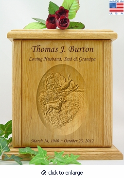 Bird Dog and Pheasants Relief Carved Engraved Wood Cremation Urn