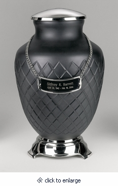Black Baroque Hand Cut Art Glass Cremation Urn