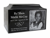 Black Granite Medium Cremation Urn with Engraved Photo